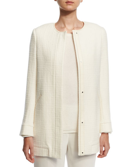 Loro Piana Giubbotto Byrne Long Island Jacket, White