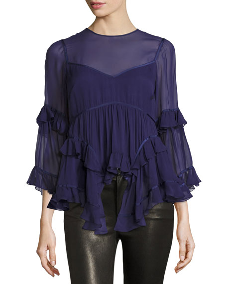 Melodie Tiered Silk Chiffon Top, Indigo