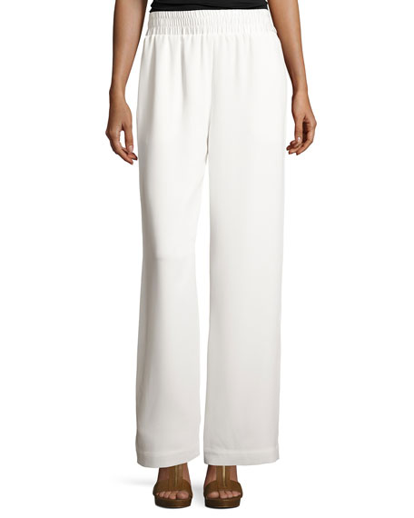 Beatrix Side-Snap Wide-Leg Pants, Ivory