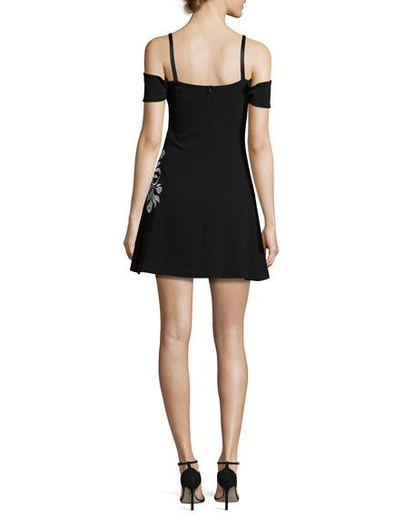 Larkin Cold-Shoulder Embroidered A-Line Mini Dress, Black/White