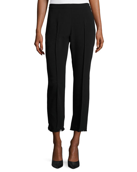Nash Fringe-Trim Cropped Pants, Black
