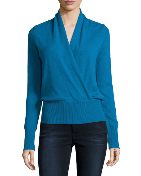 Neiman Marcus Cashmere Collection Faux-Wrap Cashmere Sweater