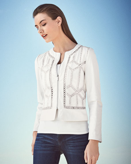 Crocheted Cropped Leather Jacket, White