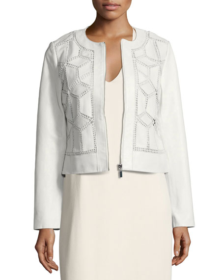 Neiman Marcus Crocheted Cropped Leather Jacket, White