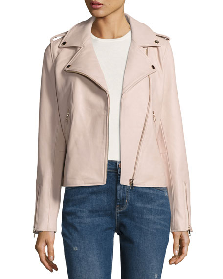 Neiman Marcus Leather Moto Jacket, Blush