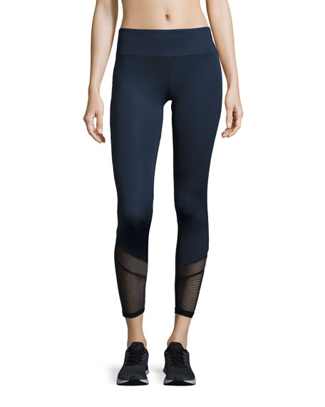 Blake Mesh-Ankle Athletic Leggings, Navy