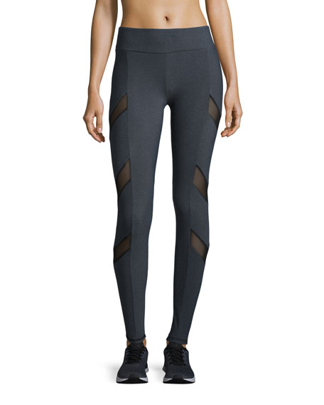 Lanston Tate Chevron-Mesh Athletic Leggings, Gray/Black