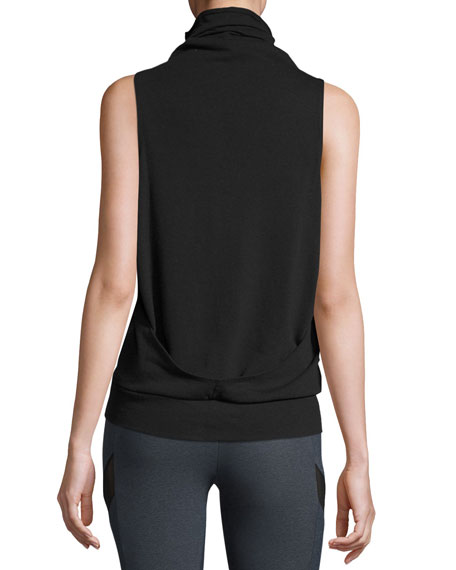 Sleeveless Turtleneck Athletic Tank, Black