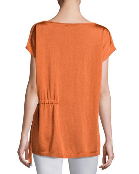 Radiant Shimmer Short-Sleeve Sweater w/ Tie-Waist Detail
