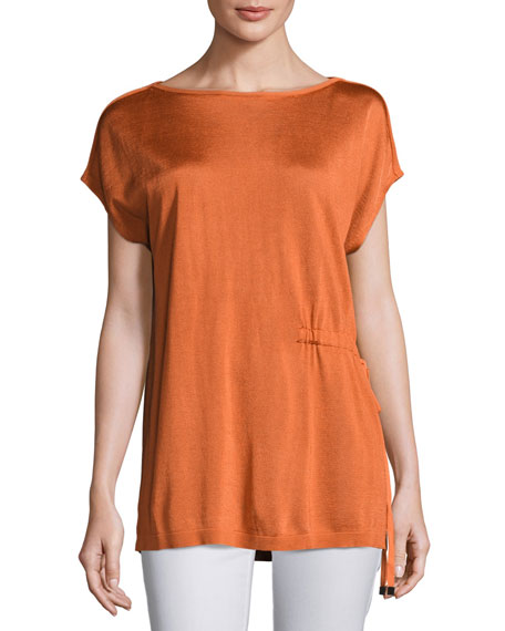 Lafayette 148 New York Radiant Shimmer Short-Sleeve Sweater