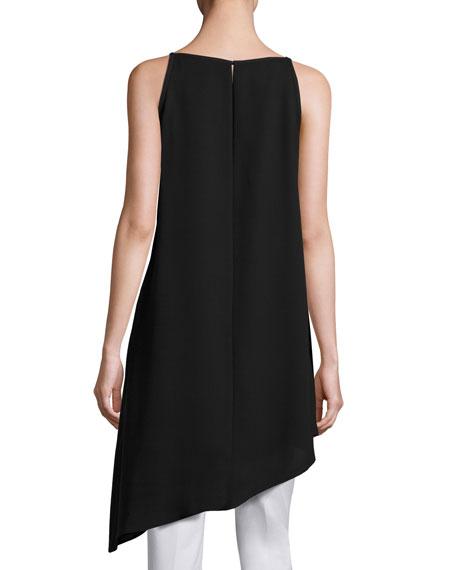 Taylor Sleeveless Double-Georgette Silk Tunic, Black