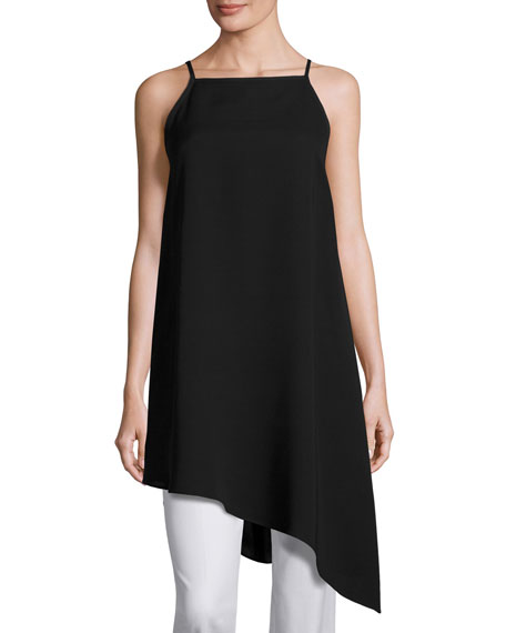 Taylor Sleeveless Double-Georgette Silk Tunic, Black