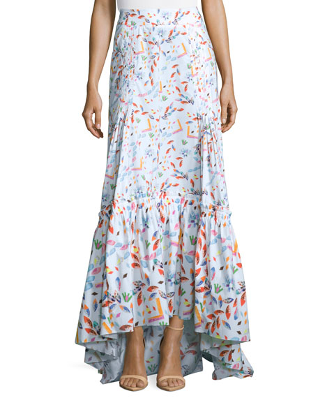 Floral Tiered Maxi Skirt, White