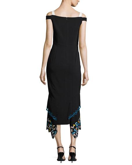 Cold-Shoulder Embroidered Midi Dress, Black