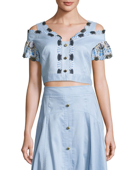 Off-the-Shoulder Lace-Trim Cropped Top, Blue