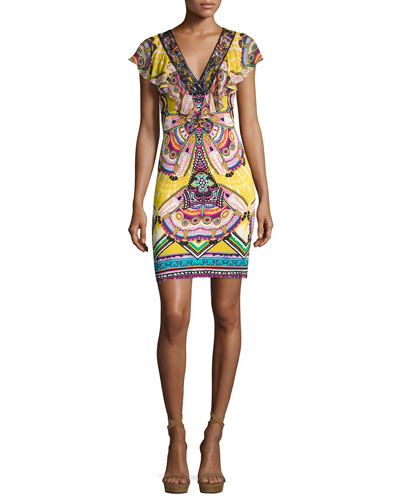 Mixed-Print Ruffle-Collar Cady Minidress