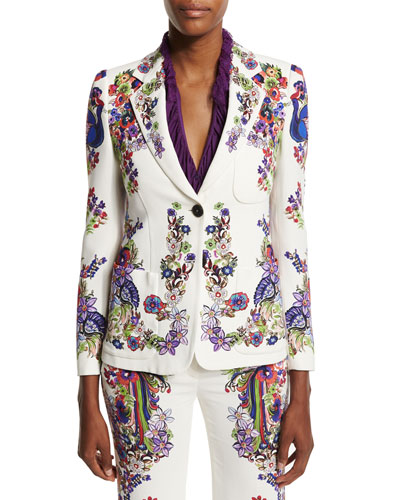 Bell Heather Printed Two-Button Jacket, White/Multi