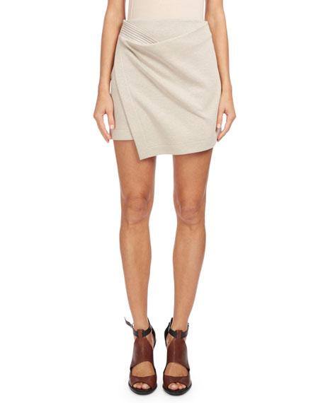 Asymmetric Wrap Mini Skirt, Off White