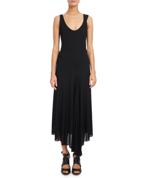 Atlein Ribbed Scoop-Neck Sleeveless Dress, Black
