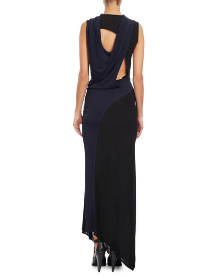Sleeveless Draped-Back Gown, Blue/Black