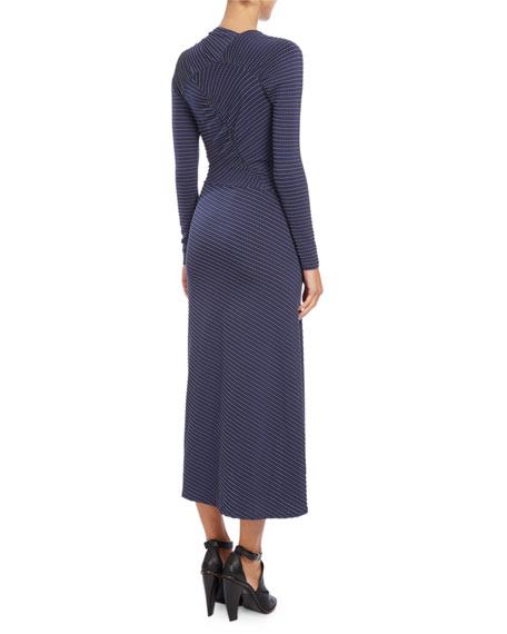 Long-Sleeve Jacquard-Dot Dress, Navy