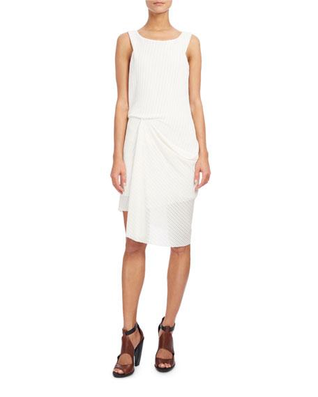 Sleeveless Draped Open-Weave Dress, White