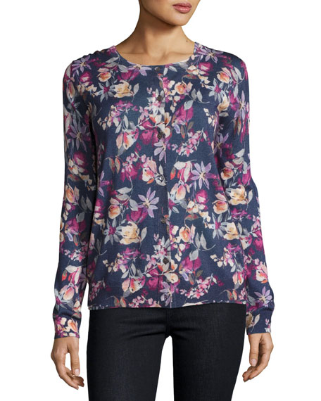 Neiman Marcus Cashmere Collection Superfine Floral-Print Cashmere