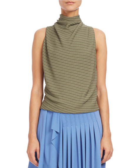 Atlein Draped Mock-Neck Sleeveless Top, Blue/Green