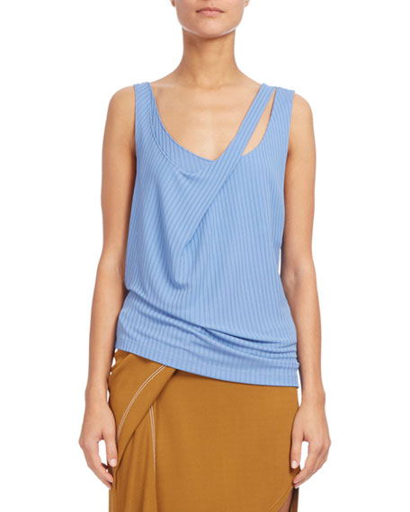 Atlein Double-Strap Ribbed Tank, Light Blue