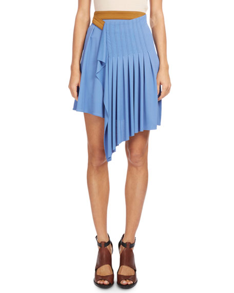 Pleated Wrap-Waist Skirt, Blue/Orange