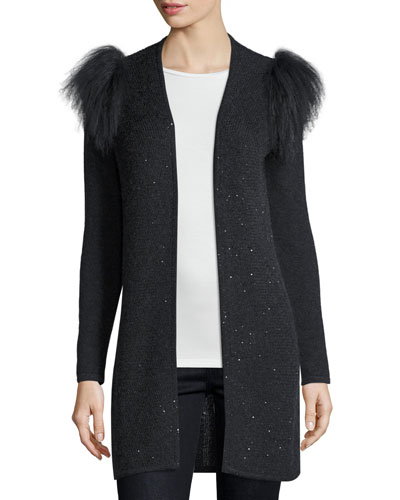 Sequined Cardigan with Mongolian Fur Shoulder