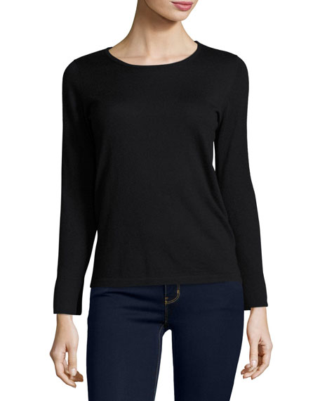 Cashmere Crewneck Top w/Split-Cuffs