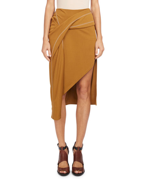 Draped Topstitch Slim Skirt, Orange