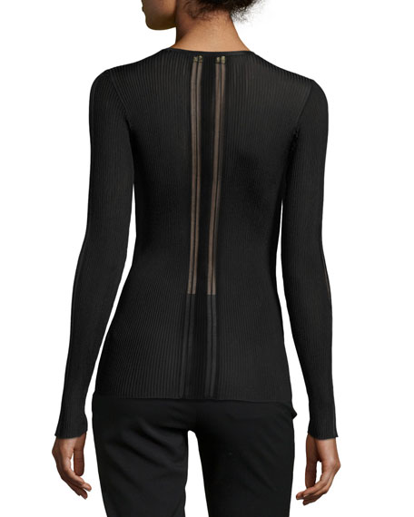 Laced V-Neck Sheer-Panel Sweater, Black