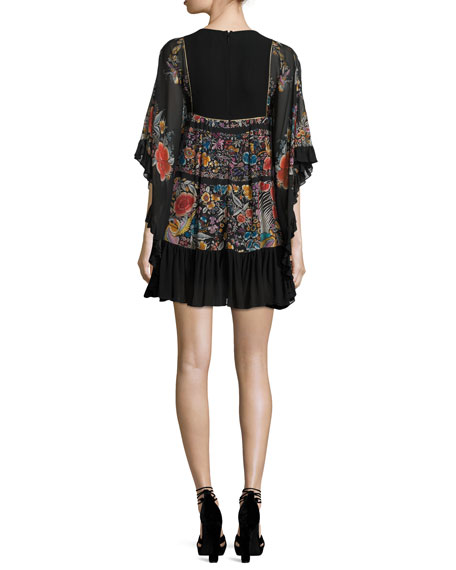 Floral Lace-Up Flounce Dress, Black/Multi
