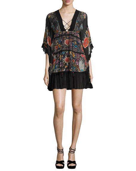 Roberto Cavalli Floral Lace-Up Flounce Dress, Black/Multi