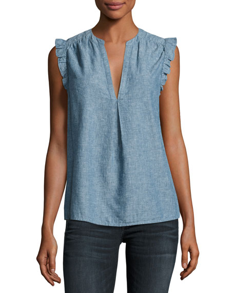 Blaine Sleeveless Chambray Top, Blue