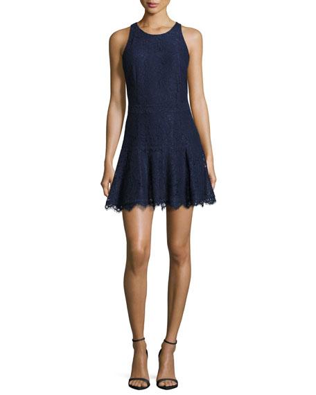 Adisa Sleeveless Lace Fit & Flare Dress, Navy Blue