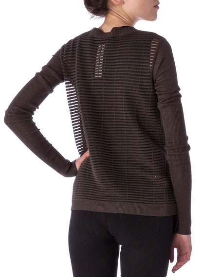 Crew Neck Sweater in Cutout Knit
