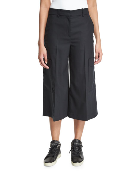 Rag & Bone Ellis Wide-Leg Cropped Pants, Black