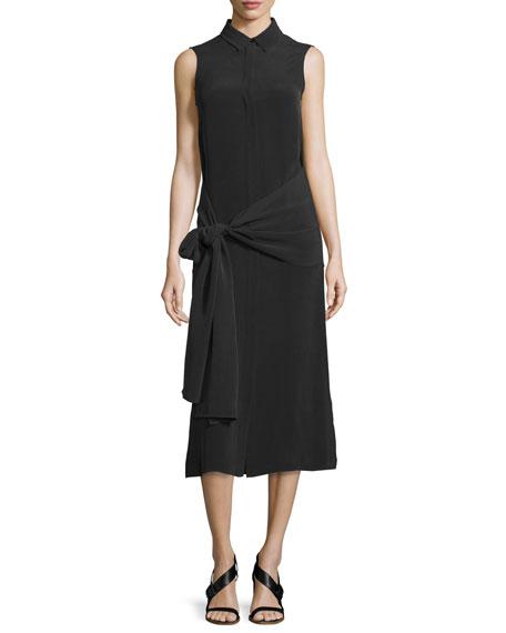 Joseph Alto Sleeveless Silk Tie-Waist Shirtdress, Black