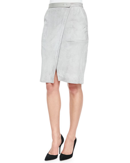 Halston Heritage Lambskin Suede Wrap Skirt
