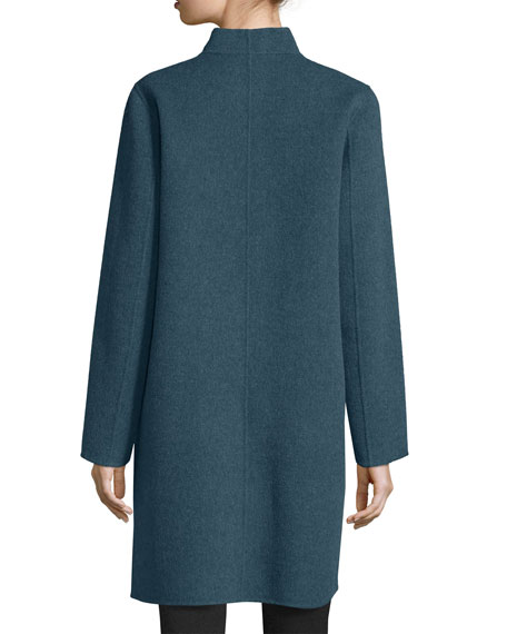 Brushed Wool Double-Face Coat, Fir