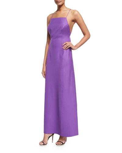 Sleeveless Cross-Back A-Line Dress, Lilac