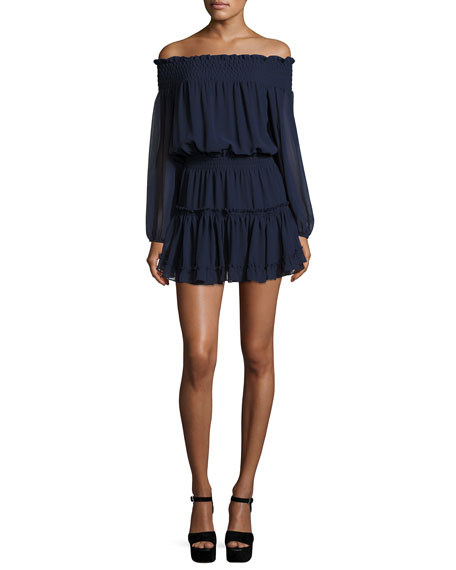 Darla Off-the-Shoulder Blouson Dress, Navy