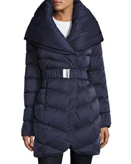 Matilda Belted Down Coat, Blue