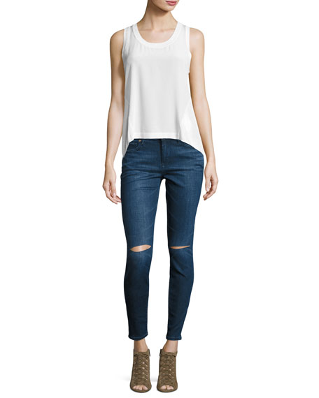 Halle Mid-Rise Super Skinny Jeans with Ripped Knees, Indigo