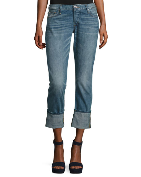 Liv Exaggerated-Cuff Low-Rise Relaxed Skinny Jeans, Indigo