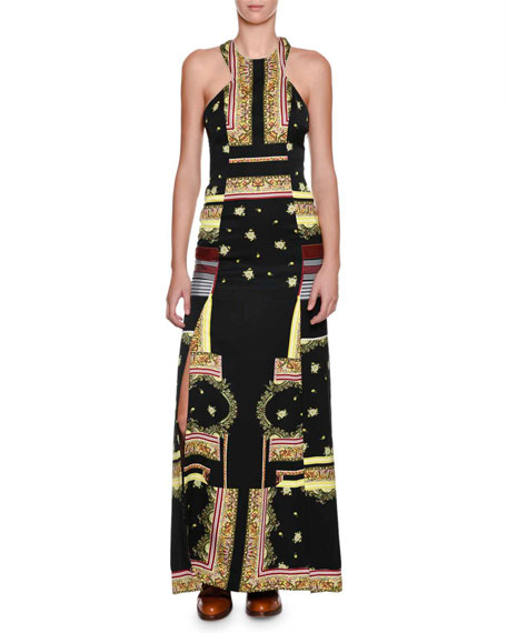Etro Printed Cut-In Halter Slit Gown, Black