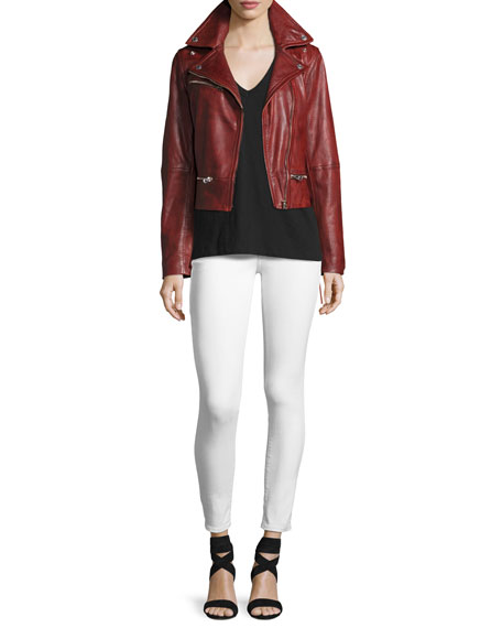 Casey Low-Rise Super-Skinny Jeans, Optic White